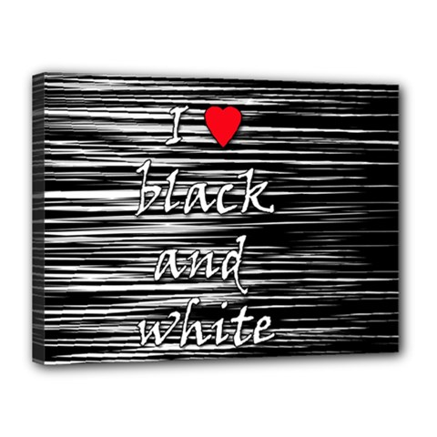 I love black and white 2 Canvas 16  x 12