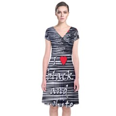 I love black and white 2 Short Sleeve Front Wrap Dress