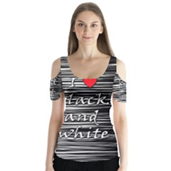 I love black and white 2 Butterfly Sleeve Cutout Tee