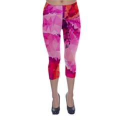 Geometric Magenta Garden Capri Winter Leggings  by DanaeStudio