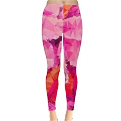Geometric Magenta Garden Leggings  by DanaeStudio