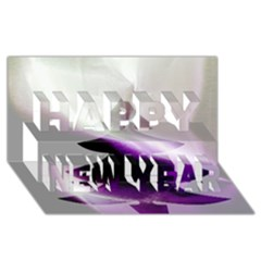 Purple Christmas Tree Happy New Year 3D Greeting Card (8x4)