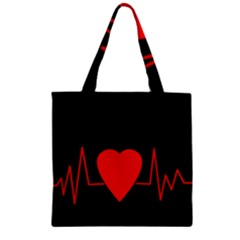 Hart bit Zipper Grocery Tote Bag