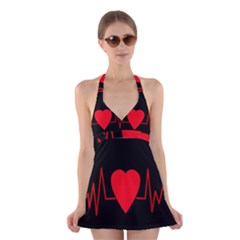 Hart bit Halter Swimsuit Dress