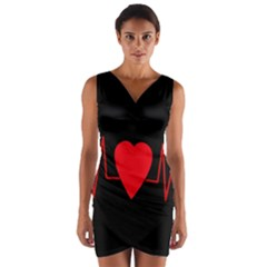 Hart bit Wrap Front Bodycon Dress
