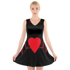 Hart bit V-Neck Sleeveless Skater Dress
