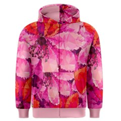Geometric Magenta Garden Men s Zipper Hoodie by DanaeStudio