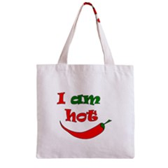 I Am Hot  Zipper Grocery Tote Bag by Valentinaart