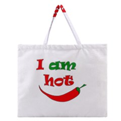 I Am Hot  Zipper Large Tote Bag by Valentinaart