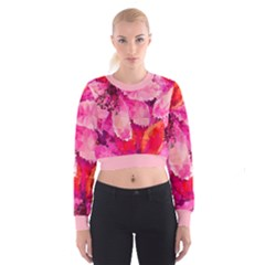 Geometric Magenta Garden Women s Cropped Sweatshirt by DanaeStudio