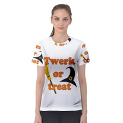 Twerk Or Treat   Funny Halloween Design Women s Sport Mesh Tee by Valentinaart