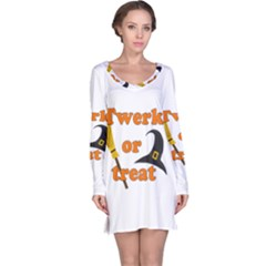 Twerk Or Treat   Funny Halloween Design Long Sleeve Nightdress by Valentinaart