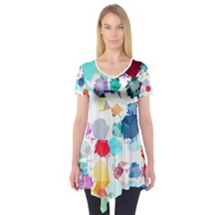 Colorful Diamonds Dream Short Sleeve Tunic