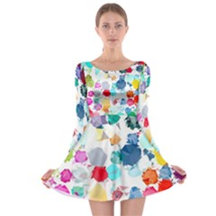 Colorful Diamonds Dream Long Sleeve Skater Dress