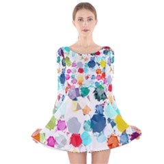 Colorful Diamonds Dream Long Sleeve Velvet Skater Dress