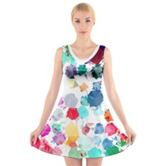 Colorful Diamonds Dream V-Neck Sleeveless Dress
