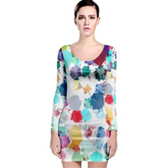 Colorful Diamonds Dream Long Sleeve Bodycon Dress