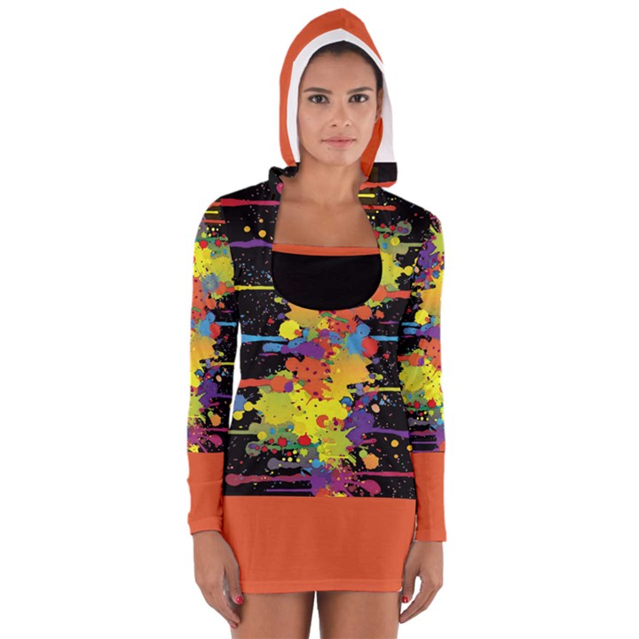 Crazy Multicolored Double Running Splashes Women s Long Sleeve Hooded T-shirt