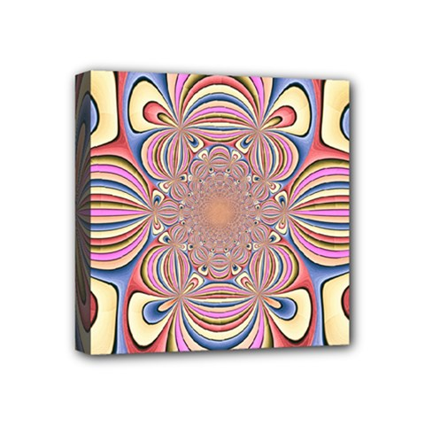 Pastel Shades Ornamental Flower Mini Canvas 4  X 4  by designworld65