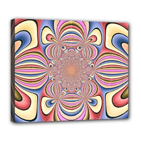 Pastel Shades Ornamental Flower Deluxe Canvas 24  X 20   by designworld65