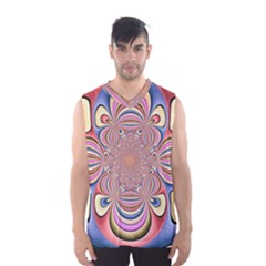 Pastel Shades Ornamental Flower Men s Basketball Tank Top by designworld65