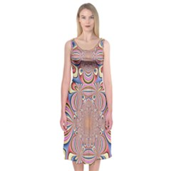 Pastel Shades Ornamental Flower Midi Sleeveless Dress by designworld65