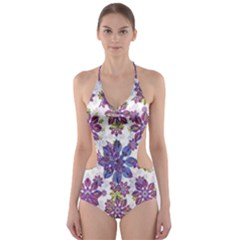 Stylized Floral Ornate Cut-out One Piece Swimsuit by dflcprintsclothing