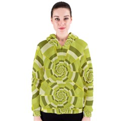 Crazy Dart Green Gold Spiral Women s Zipper Hoodie by designworld65