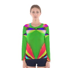 Colorful Abstract Butterfly With Flower  Women s Long Sleeve Tee by designworld65