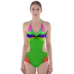 Colorful Abstract Butterfly With Flower  Cut Out One Piece Swimsuit by designworld65