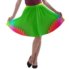 Colorful Abstract Butterfly With Flower  A Line Skater Skirt by designworld65