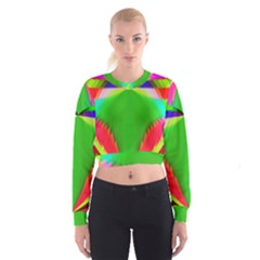 Colorful Abstract Butterfly With Flower  Women s Cropped Sweatshirt by designworld65