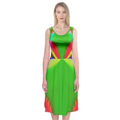 Colorful Abstract Butterfly With Flower  Midi Sleeveless Dress by designworld65