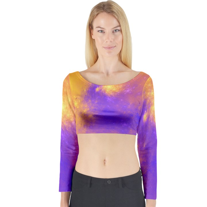 Colorful Universe Long Sleeve Crop Top