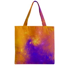 Colorful Universe Zipper Grocery Tote Bag by designworld65