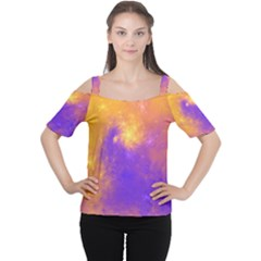 Colorful Universe Women s Cutout Shoulder Tee by designworld65