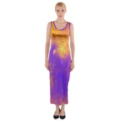 Colorful Universe Fitted Maxi Dress by designworld65
