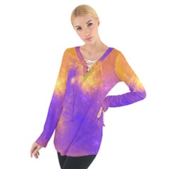 Colorful Universe Women s Tie Up Tee by designworld65