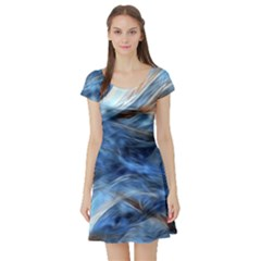 Blue Colorful Abstract Design  Short Sleeve Skater Dress by designworld65