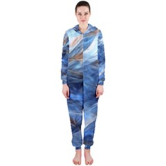 Blue Colorful Abstract Design  Hooded Jumpsuit (ladies)  by designworld65