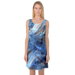 Blue Colorful Abstract Design  Sleeveless Satin Nightdress by designworld65