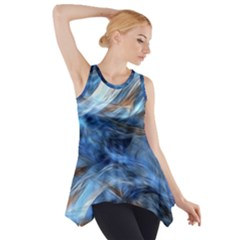 Blue Colorful Abstract Design  Side Drop Tank Tunic by designworld65