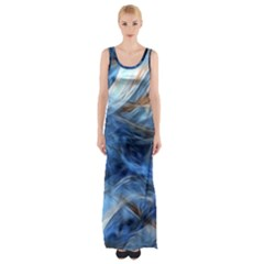 Blue Colorful Abstract Design  Maxi Thigh Split Dress by designworld65