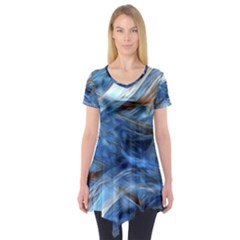 Blue Colorful Abstract Design  Short Sleeve Tunic  by designworld65