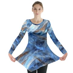 Blue Colorful Abstract Design  Long Sleeve Tunic  by designworld65