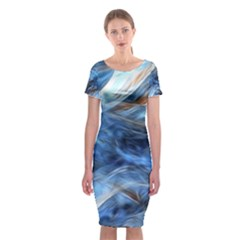 Blue Colorful Abstract Design  Classic Short Sleeve Midi Dress by designworld65