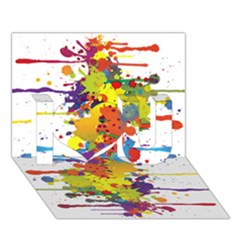 Crazy Multicolored Double Running Splashes I Love You 3d Greeting Card (7x5) by EDDArt