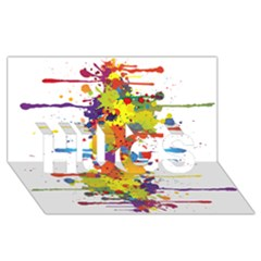Crazy Multicolored Double Running Splashes Hugs 3d Greeting Card (8x4) by EDDArt