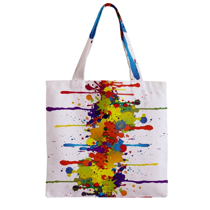 Crazy Multicolored Double Running Splashes Zipper Grocery Tote Bag