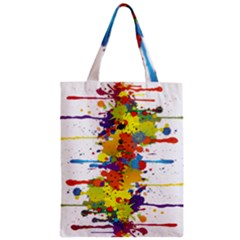 Crazy Multicolored Double Running Splashes Zipper Classic Tote Bag by EDDArt